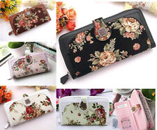 New fashion lady women long flower Retro purse wallet buckle phone bag 4 Colors