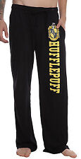 Harry Potter Hufflepuff Crest Black Lounge Sleep Pajama Pj's Pants Licensed NWOT