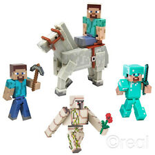 "New Minecraft 3"" Steve Zombie Creeper & Enderman Figures With Accessories"