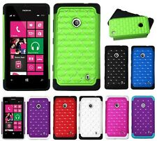 STUDDED DIAMOND BLING HARD + SILICONE SKIN CASE for NOKIA LUMIA model cell phone