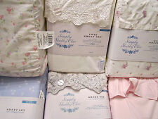 Simply Shabby Chic Sheet Set: Woodrose Indigo Floral Candy Pink Lavender Calico