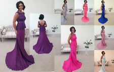 LACE BRIDESMAID DRESS FISHTAIL EVENING PROM PARTY WEDDING  SILVER PINK BACKLESS