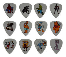 12 x Cartoon Super Hero Guitar Picks Plectrums Medium 0.71mm Gauge. Gift
