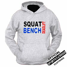 Squat Bench Deadlift Hoodie S-XXL Body Building, Gym, Weight Training GREY