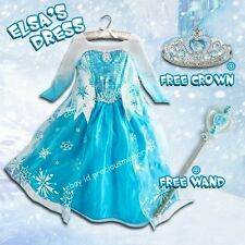 Girls Dresses Frozen Elsa Costume Cosplay Princess Dress New + Free Crown&Wand