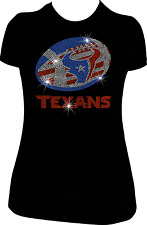 RHINESTONE BLING HOUSTON TEXANS T-SHIRT H-TOWN PRIDE V NECK SHIRT- LOVE TEXANS