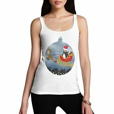 Women Cotton Novelty Holliday Christmas Santa Guin Ornament Print Tank Top