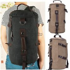 Men Canvas Outdoor Travel Bucket Backpack Shoulder Bag Big Capacity Hiking MSF