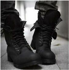 Mens Black Lace Retro Combat Military Motor High Top Leather Boots Casual Shoes