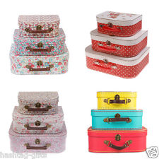 Set of 3 Vintage Floral Suitcases - Storage Boxes Shabby Chic Home Decoration