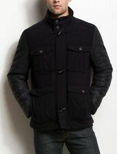 Armani Exchange A|X Men's Leather/Wool Toggle Winter Coat - Midnight
