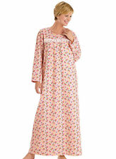 USA Catalog Soft Cozy Cotton Flannel PINK Floral Lace Trim  Long Nightgown