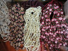 Christmas Garland Wood Peppermint, Beads  Stars Popcorn Snowflakes