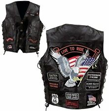 Black Men's Genuine Leather Motorcycle Vest w/14 Patches MC Biker  club