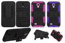 FOR SAMSUNG GALAXY S4 i9500 RUGGED ARMOR BUNKER CASE COVER BELT CLIP HOLSTER