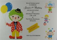 Personalised Clown Birthday Party Invitations Or Thank You Cards And Envelopes