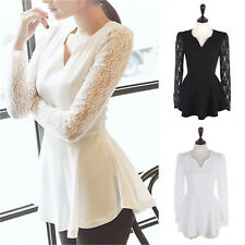 Sexy Casual Women Flared Peplum Sexy Shirts Lace Long Sleeve Chiffon Tops Blouse