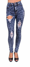 Vibrant Jeans Women High Waisted Distressed Acid Wash Skinny Jeans - P132
