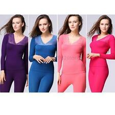 Sexy Women Lace V neck Winter Thermal Set Top&Pants Underwear Long Pajamas A11