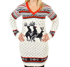 Women's Reindeer Threesome Sweater Dress - Ugly Christmas Sweater in Vintage
