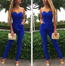 Sexy V Neck Strapless Drape Stretch Baggy Jersey Casual Club Harem Jumpsuits A