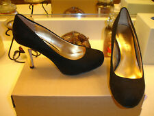 Steve Madden Girl Getta Black Suede Pump Heel Wedding Prom Bridal Nice $70 6