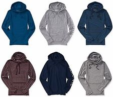 Aeropostale Hoodie Tee Mens Aero Long Sleeve Lightweight Popover Hooded T-Shirt