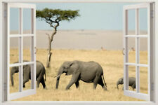 NEW Elephant 3D Safari kids wild Vinyl Decal Mural Wall Sticker Vinyl Art animal