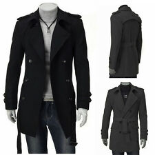 2015 Mens Outerwear Coat Fashion Skinny Long Double-Breasted Long Jacket PeaCoat