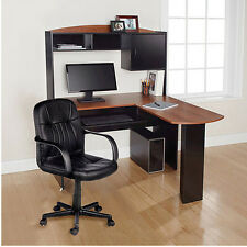 Home Office L-Shaped Desk w Hutch computer work station chair space saver NEW