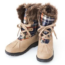 Must Have Timeless Styling Plaid Shaft Fur Edge Lace-up Snow Ankle Boots Nude