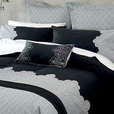 Canterbury Marnie Charcoal Silver Quilt Doona Cover Set - QUEEN KING CUSHION