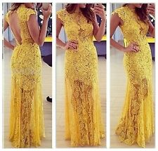 2014 Women's Lace Formal Prom Ball Cocktail Party Dress Yellow Sexy Backless - H