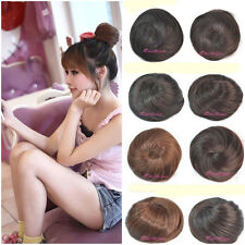 New Womens Straight Clip-on Synthetic Elastic Contract Dish Hair Buns Tail Wigs