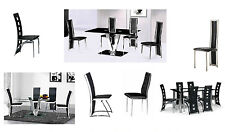 1) Glass Dining Tables and Metal Framed Faux Leather Upholstered Chairs 2,4,6,8,