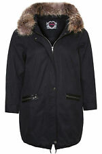 Plus Size Womens Parka Coat With Fur Trim Hood And Pu Trim Pockets