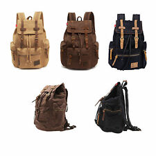 Men's Vintage Canvas Camping Travel Sport School Shoulder Bag Backpack Satchel