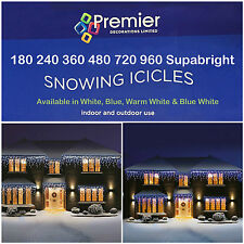 Xmas Christmas Led Lights Snowing Icicles Outdoor Indoor House Tree Blue White