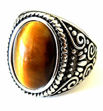 man's 316L solid heavy stainless steel  tiger's eye ring size 9,10,11,12,13,14