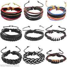 Mens Womens - Real Leather Braided Surfer Hemp Woven Bracelet Wristband Bangle