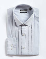 Kenneth Cole NY Dress Shirt Mens Slim Fit Cotton White & Silver Striped Pleated
