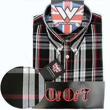 Warrior OiOi7 Short Sleeve Button Down Shirt MOORE Mod Skinhead Black Red Grey S