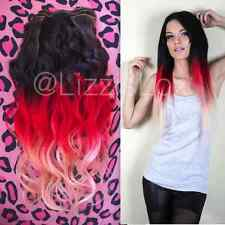 """Black Red Balayage Ombre Dip Dye Clip In Remy Human Hair Extensions 20"""""""