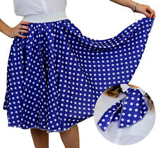 BLUE POLKA DOT SKIRT WITH WHITE SPOTS & SCARF 1950S ROCK AND ROLL FANCY DRESS
