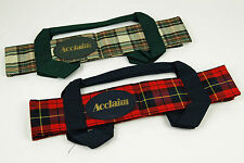 ACCLAIM Arran Four Bowl Carrier Green Cream Or Red Navy Tartan With Handles
