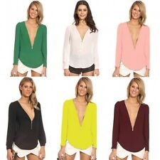 Women Chiffon Zipper Deep V-Neck Candy Color Long Sleeve Casual Shirt Blouse Top