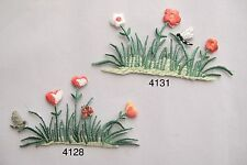 Red,White Flower,Dragonfly,Pond,Water Plants Embroidery Iron On Applique Patch