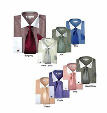 Men's Stylish Classic French Cuff Striped Dress Shirt with Tie and cuff SG17