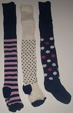 3 Pairs NEW Girls TIGHTS Blue Stripes SPOTS Polka Dots 18/24 mths 2/3 3/4 5/6 yr