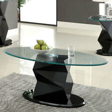 Marius Contemporary Style High Gloss Lacquer Finish Oval Coffee Table